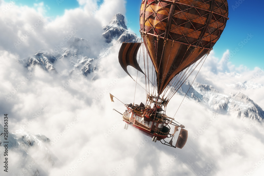 Fototapeta Fantasy concept of a steam powered balloon craft airship sailing through a sea of clouds with snow cap mountains in background. 3d rendering illustration