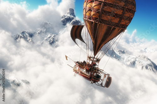 Fototapeta Fantasy concept of a steam powered balloon craft airship sailing through a sea of clouds with snow cap mountains in background