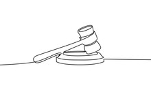 Continuous Line Drawing Of Hammer Judge On Black And White Background. - Vector