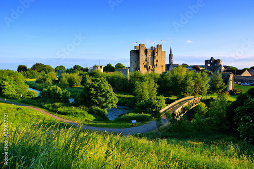 Historic Trim Castle with foot bridge Canvas Print