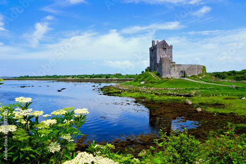 Fotografie, Obraz  View of the medieval Dunguaire Castle along the shore of Galway Bay with reflect