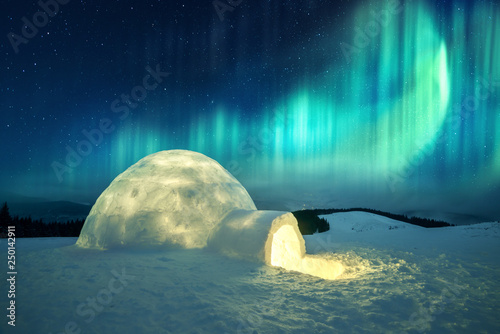Wall Murals Northern lights Aurora borealis. Northern lights in winter mountains. Wintry scene with glowing polar lights and snowy igloo