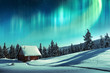 canvas print picture - Fantastic winter landscape with wooden house in snowy mountains and northen light in night sky
