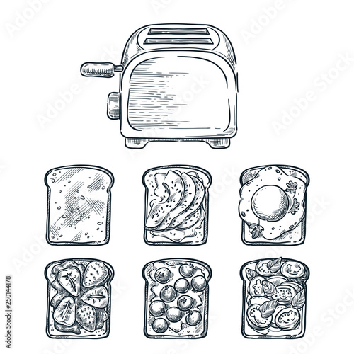 Платно Toaster and various toppers on toasted bread