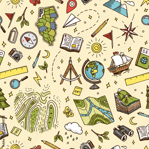 Fotografía  Geography symbols seamless pattern