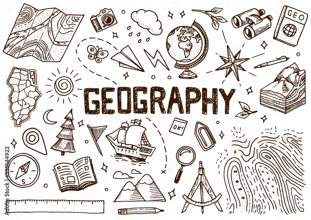 Fototapety, obrazy: Set of geography symbols. Equipments for web banners. Vintage outline sketch for web banners. Doodle style. Education concept. Back to school background. Hand drawn style.