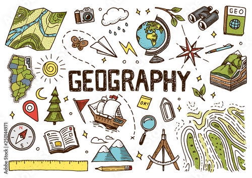 Photo Set of geography symbols