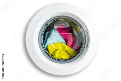 Fotografia  View of the washing machine from the front isolated