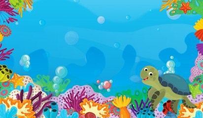 Fototapeta na wymiar cartoon scene with coral reef with happy and cute fish swimming with frame space text turtle - illustration for children