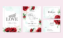 Floral Watercolor Wedding Invitation Card With Thank You Card Rsvp