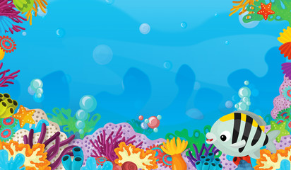 Fototapeta na wymiar cartoon scene with coral reef with happy and cute fish swimming with frame space text - illustration for children