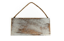 A Blank Rustic White Washed Distressed Wooden Signboard With Rope Hanger Over White Background.