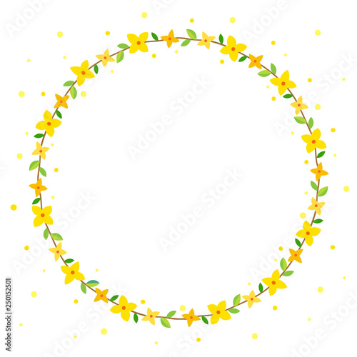 Photo Forsythia flowers wreath frame