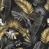 Seamless tropical pattern. Leaves palm tree illustration. Gold, gray, black lives - 250156380