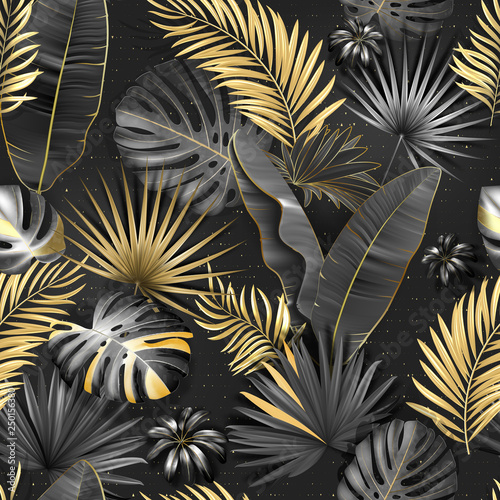 Tapeta czarna  seamless-tropical-pattern-leaves-palm-tree-illustration-gold-gray-black-lives