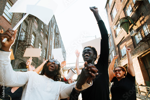 Photo Ecstatic protesters at a demonstration