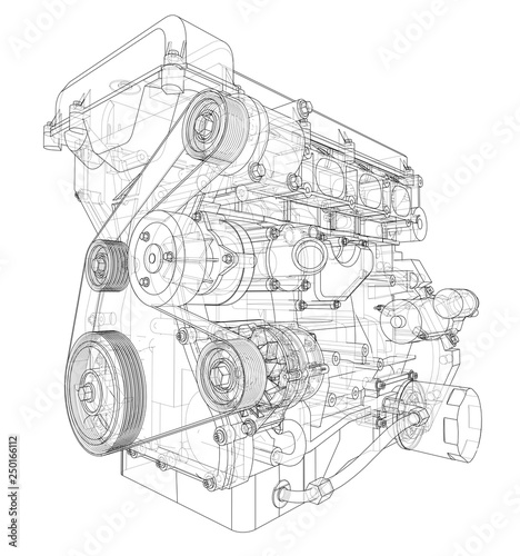 Engine sketch. Vector rendering of 3d Fototapeta