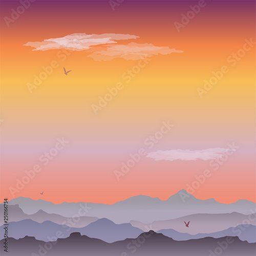 Fototapety, obrazy: Vector greeting card with mountain landscape. A quiet evening, clouds and birds soaring in the sky. Misty hills at Sunset