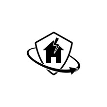 Home, Lightning, Insurance. Element Of Insurance In Shield Icon. Premium Quality Graphic Design Icon. Signs And Symbols Collection Icon For Websites, Web Design, Mobile App