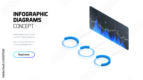 Fotografía  Infographic diagrams and charts, business and finance analytics and statistics,