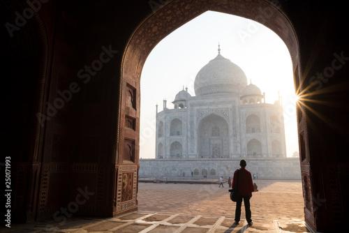 Poster Marron chocolat Silhouette of man admiring stunning Taj Mahal during sunrise, Agra, India