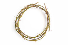 Jesus Christ Crown Thorns On ISolated White Background