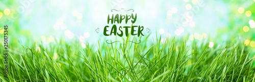 obraz lub plakat background of green summer grass with Happy Easter lettering inscription ,dew and bokeh