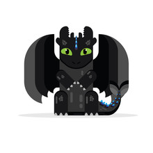 Black Dragon Flat Design