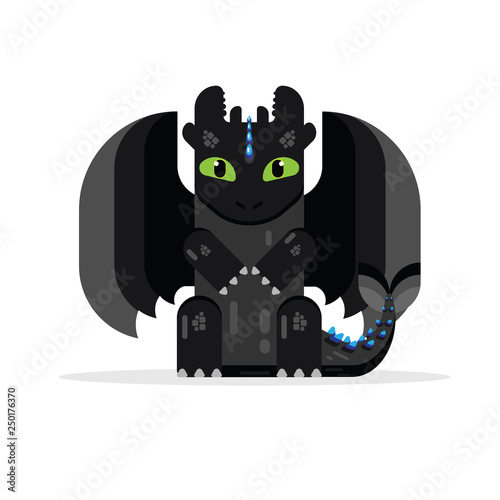 Black dragon flat design Canvas Print