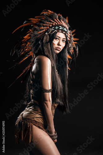 Native American Indian Sexy Girl With Traditional Make Up And
