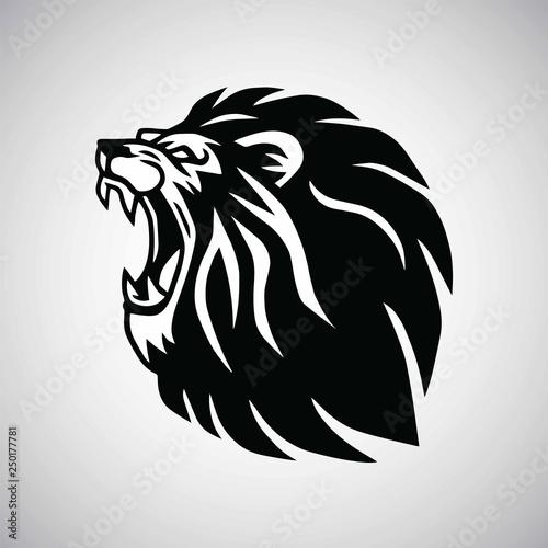 Fototapety, obrazy:  Lion Roaring Logo Mascot Vector Design Illustration