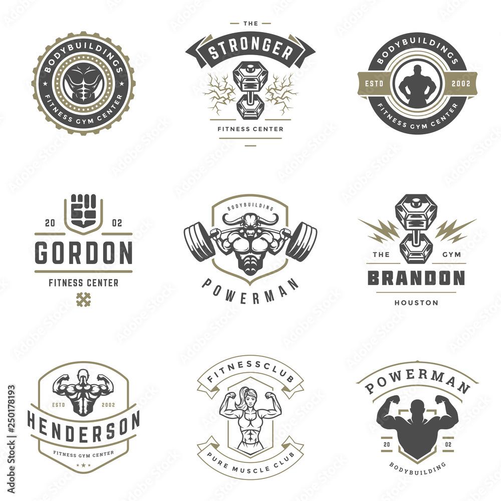 Centrum fitness i sport siłownia logo i odznaki projekt zestaw ilustracji wektorowych.