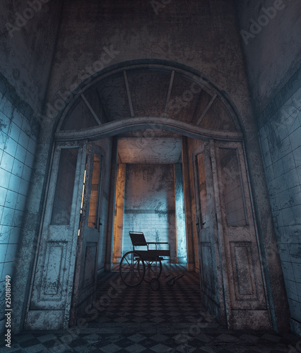 Photo 3d rendering of a wheelchair in haunted house or asylum
