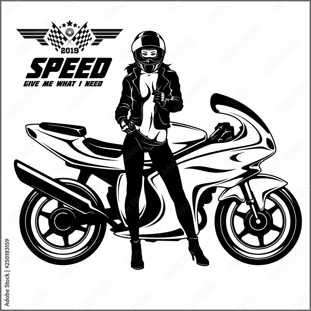 Fototapeta Woman and sport motorbike - monochrome vector illustration.