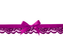 Violet Lace And Satin Bow In Line Arrangement