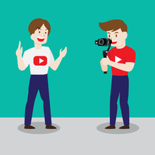Couple Man Take Video Bloggers. Vector Illustration In Cartoon Style