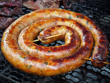 Authentic Northern Thai Food - Spicy Pork Sausage Grilling On The Charcoal Stove
