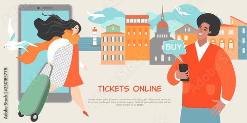 Young people buy tickets online using smartphones - Buy this stock