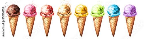 Fotografie, Obraz  Various ice cream scoops in waffles set