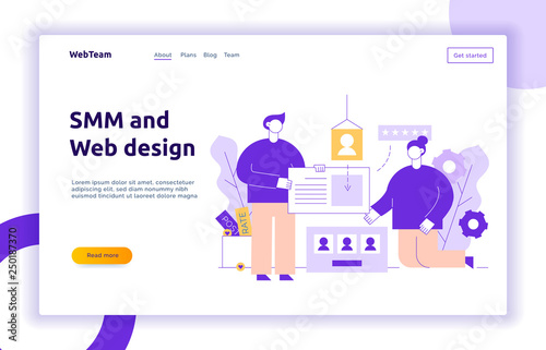 Vector social media and website creation process design