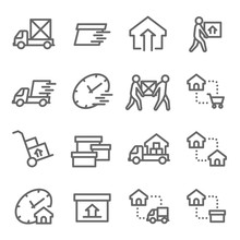 Moving House Vector Line Icon Set. Contains Such Icons As Shipping, Home Mover Service, Express, Relocation And More. Expanded Stroke