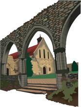 Beaulieu Abbey Vector Illustration