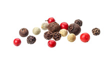Pepper Mix. Black, Red, White And Allspice Peppercorns Isolated On White Background, Close Up