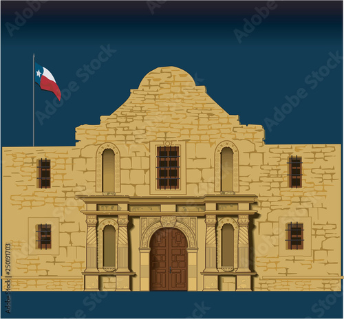 Alamo Vector Illustration Wallpaper Mural
