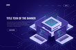 Artificial intelligence isometric abstract banner, neural network, server computers, software development, digital technology, smart system