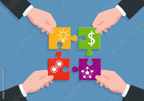 Concept du puzzle pour illustrer le processus de fabrication d'un produit, de la création au réseau de distribution, en passant par la réalisation et le financement en dollars Canvas Print