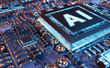 Leinwandbild Motiv Artificial Intelligence in a modern GPU card 3D rendering