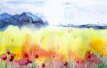 Astract Watercolor Illustration Of A Beautiful Poppy Field With A Forest In The Background