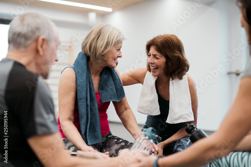 Fotografia  A group of seniors in gym resting after doing exercise on fit balls, talking