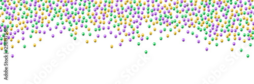 Fototapeta Mardi Gras beads in traditional colors, gold, purple, green, isolated on white,